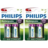 4 x Philips C Size 3000 mAh Rechargeable Ni-MH Batteries HR14 LR14 MN1400