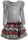 Bonnie Jean Girls Knit Multi-Tiered Plaid Holiday Dress, Gray, 2T - 4T