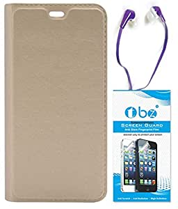 TBZ PU Leather Flip Cover Case for Gionee Marathon M5 Lite with Earphone and Tempered Screen Guard -Golden