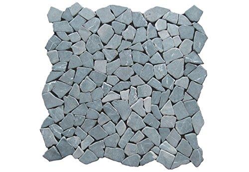 divero 4 gro format matten 53 x 53cm marmor naturstein mosaik fliesen f r wand boden bruchstein grau. Black Bedroom Furniture Sets. Home Design Ideas