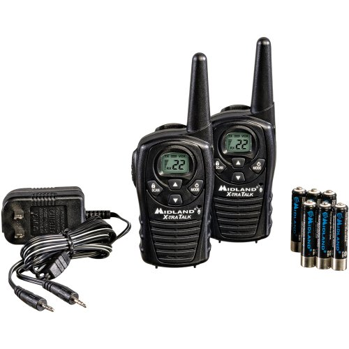 Midland LXT118VP 22-Channel GMRS Radio Pair Value Pack with Charger and Rechargeable Batteries (Black)