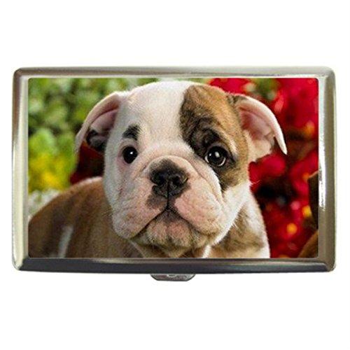 Bulldog Puppies Dog Custom Business Name Card Money Credit Card Holder Box Case front-424568