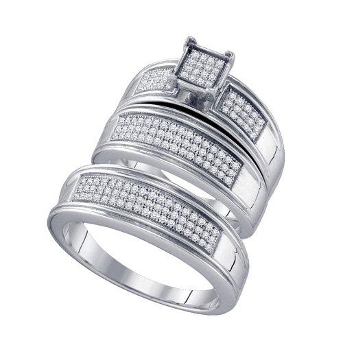 Sterling Silver 3/8 ct. Diamond Trio Engagement Set