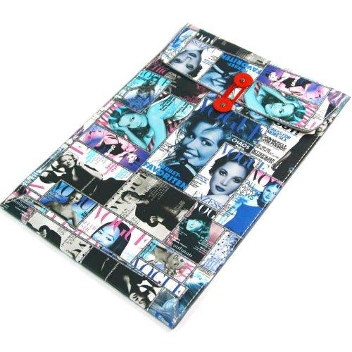【全4柄】Macbook air 11.6用封筒レザーポーチ ケース インナーケース ヨーロッパ風 雑誌表紙仕様 ブルー PU Leather case for Macbook air 11.6 (1599-1)