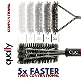 "Qually United® - a Must Have 18"" Best BBQ Grill Brush 3 in 1, Durable and Effective, Barbecue Grill Brush Bristles are Made of Stainless Steel Woven Wire - a Perfect Gift for All Barbecue Lovers"