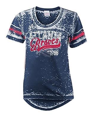 MLB Atlanta Braves Burnout Wash Wide Crew Neck Jersey
