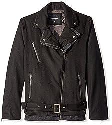 nANA jUDY Men's Double Rider Jacket, Black, XL