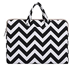 Mosiso Laptop Briefcase, Canvas Fabric Sleeve Carrying Cover Bag Case for Acer Switch Alpha 12 / The New MacBook 12 Inch with Retina Display A1534 [2015/2016 Release] / Surface Pro 4/3 Tablet, Chevron Black