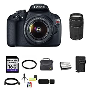 Canon EOS Rebel T5 DSLR Camera with EF-S 18-55mm IS II Lens 9126B003 Canon Zoom Telephoto EF 75-300mm f/4.0-5.6 III Autofocus Lens 16GB Bundle 4
