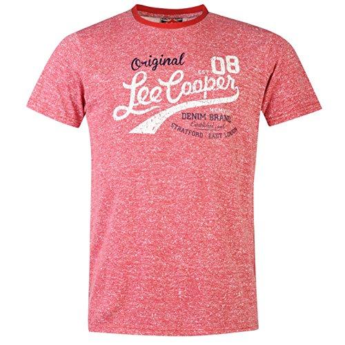 lee-cooper-los-hombres-de-textura-camiseta-verano-camiseta-de-manga-corta-cuello-redondo-casual-rojo