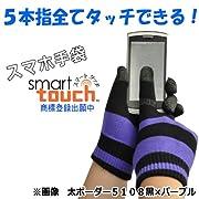 ミドリ安全 スマホ手袋 smarttouch 5108 【太ボーダー】 黒×紺