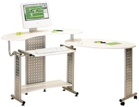 Bureau informatique coloris blanc, 200 x 73 x 89 cm -PEGANE-