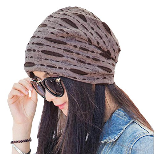 [Century Star Women Fashion Broken Hole Style Comfort Stylish Beanie Hat Cap Coffee] (Leopard Cowboy Hat)