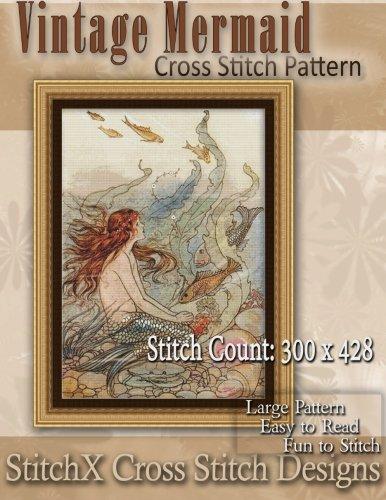 Vintage Mermaid Cross Stitch Pattern