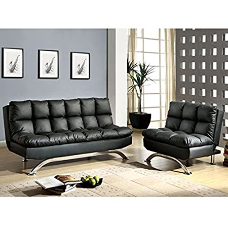 Mussina Black Leatherette Finish 2-Piece Sofa Futon Set
