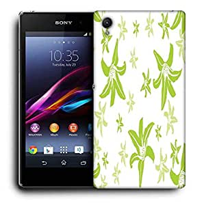 Snoogg Green Petals Printed Protective Phone Back Case Cover For Sony Xperia Z5