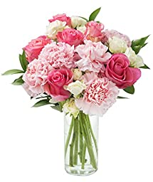 Pretty in Pink Roses and Carnations Accented with White Spray Roses and Lush Greens - With Vase