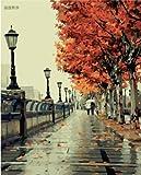 Bricolage numérique toile peinture à l'huile de décoration en nombre Kits romantique amour automne 16 * 20 cm....