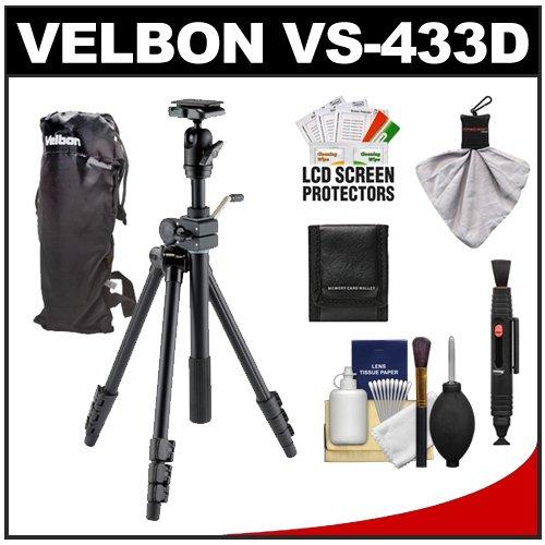 Velbon VS-443D 63 Aluminum Tripod with Geared Tilt Column Ballhead /& Case