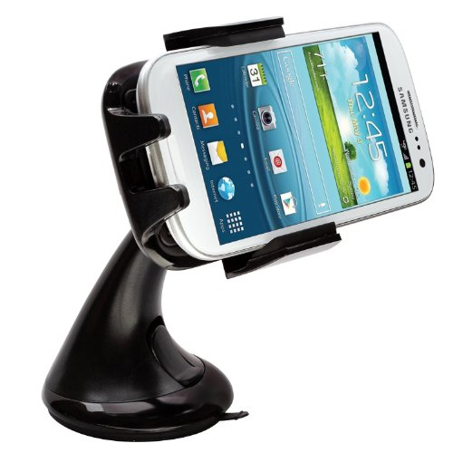 Intek I-Touch Button Car Windshield & Dashboard Mount for Iphone 4/4s/5/5c/5s, Galaxy S4/s3/s2, Galaxy Note 1/2/3 HTC One,/one X, Droid Razr Maxx, Google Nexus, Lg Optimus - Retail Packaging (Black)