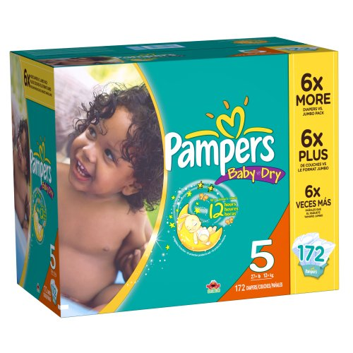 51uCIqb5vnL Pampers Baby Dry Diapers Size 5 Economy Pack Plus, 172 Count