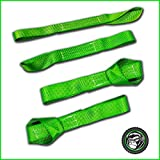 """GORILLA Soft Loops Motorcycle Tie Down Straps, 10,427lb Break Strength, 1.7"""" wide x 17"""" long, (Pack of 4) - Green"""