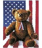 Latch Hook Kit 20 Inch x27 Inch -All American Teddy