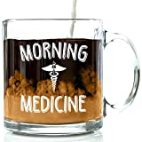 Morning Medicine Funny Glass Coffee Mug 13 oz - Great Christmas Present Idea For Men and Women, Him or Her, Mom or Dad - Unique Birthday Gifts For Doctor, Therapist, Nurse, Coworker
