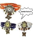 GT Gala Time Vintage Fashion Butterfly Pendant Leather Bracelet Orange, Blue & White Watch for Girls