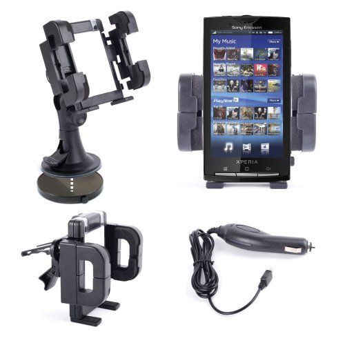 Car Cradle For Sony Xperia X10 & Xperia T With Variable Access Parts + Dash Disc & Cigarette Lighter Charger