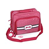 Messenger Style Cosmetic Makeup And Toiletry Travel Bag Pink With White Dots