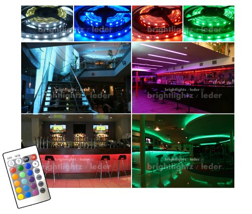 12v LED STRIP LIGHTS RGB 5050 LED STRIPS TAPE LIGHT RIBBON / 4 Metre with 240 LED's - Colour Changing Strip lighting with Wireless controller and 12v Transformer ** THE BRIGHTEST RGB STRIPS AVAILABLE WITH 60 LED's PER METRE - IDEAL FOR KITCHENS, HOME LED LIGHTING, BARS, RESTAURANTS, ETC **