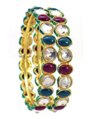 Be You Kundan Meena Gold Plated Bangle Set