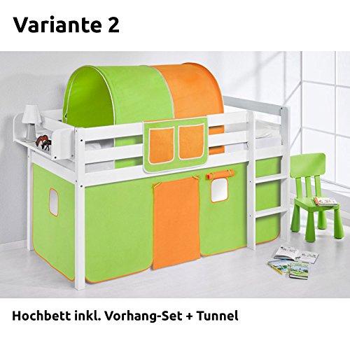Hochbett Spielbett JELLE Grün Orange mit Vorhang, weiß, Variante 2