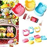Witkey 3 Pcs Different Color Bento Accessories the Love Cat Shape Rice Ball Mold Suit Creative Lovely Seaweed Sushi Material Tool Clamp Laver Embossing with Nori Punch