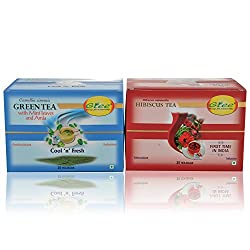 GTEE Green Tea Bags-Mint & Hibiscus Tea Bags (25 Tea bags X 2PACKS)