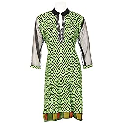 Lal Chhadi Women's Cotton Net Full Sleeve V-Neck Kurta