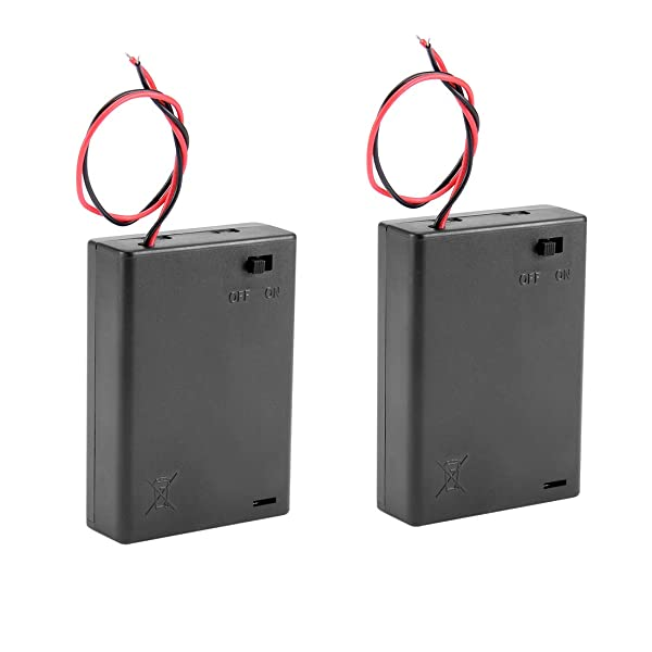 uxcell 2 Pcs Wired ON/Off Switch 3 x AA 4.5V Battery Holder Case w Cover