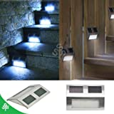 TSSS® (8-Pack) Solar Powered Stainless Steel Staircase LED Solar Step Lights, Solar Dock Light