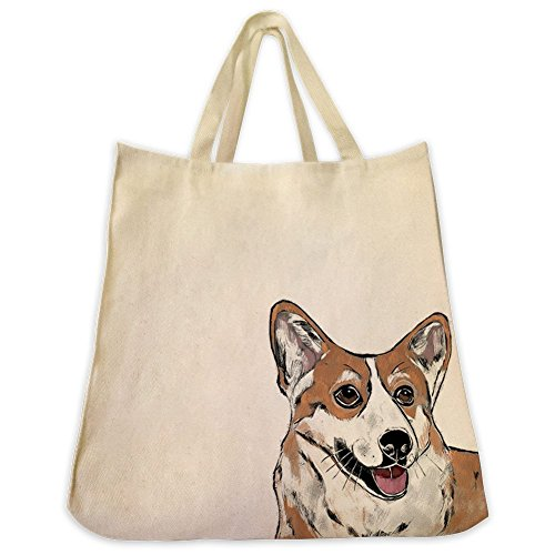 corgi-dog-extra-large-eco-friendly-reusable-cotton-twill-grocery-shopping-tote-bag