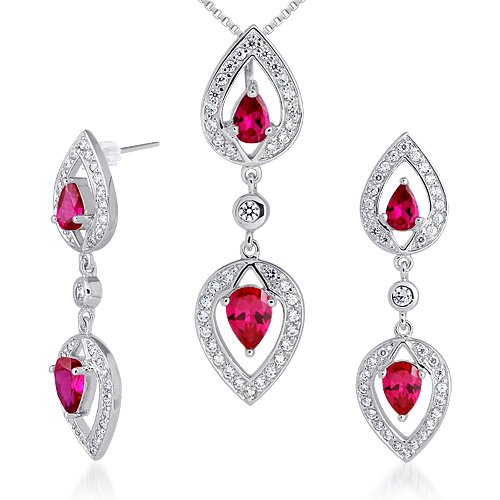 Revoni Must Have Fabulous Pear Shape Created Ruby Pendant Earrings Set in Sterling Silver Rhodium Finish