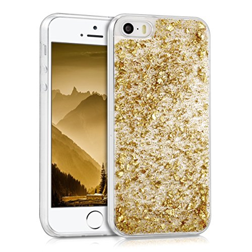 kwmobile-crystal-tpu-silicone-case-for-apple-iphone-se-5-5s-in-gold-transparent-design-flakes-glitte