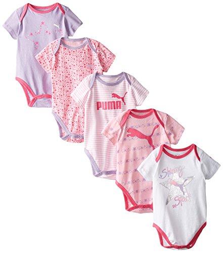 PUMA Baby-Girls 5 Pack Short Sleeve Bodysuit, Pink/White, 6/9M