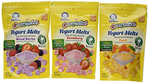 Gerber Graduates Yogurt Melts - Variety Pack of 3 (Strawberry, Mixed Berry, Peach) - 1