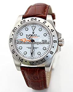 20mm Classic Brown Crocodile Grain Leather Watch Strap For Rolex Explorer II