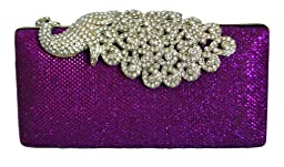 Chicastic Mesh Rhinestone Peacock Hard Box Wedding Cocktail Clutch Purse - Purple