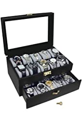Ikee Design Deluxe Black Watch Display Case With Key Lock, Clear Glass Top, 20 Watch Holders