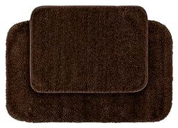 Garland Rug 2-Piece Traditional Nylon Washable Bathroom Rug Set, Chocolate