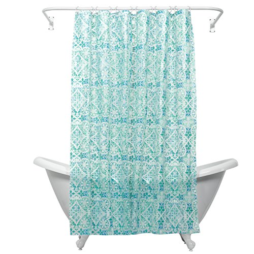 Zenna Home, India Ink Morocco Peva Shower Curtain Liner, Teal (Eco Shower Curtain Liner compare prices)
