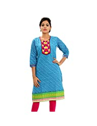 Aawari Cotton Blue 3/4 Sleeve Round Neck Kurti For Women